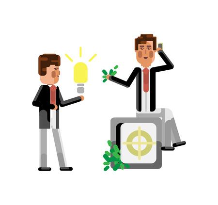 European businessman holding idea light bulb Stock Photo