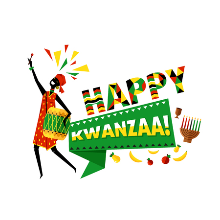 Greeting card for Kwanzaa with Africans woman.