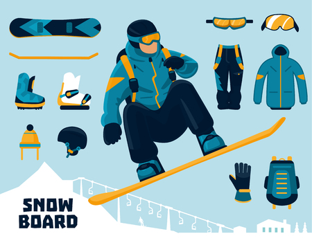 Snowboarder and winter sports equipment set Stock Photo