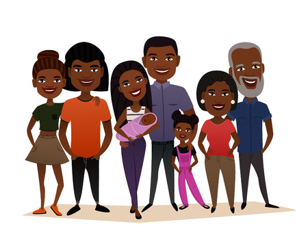 Big happy black family cartoon concept