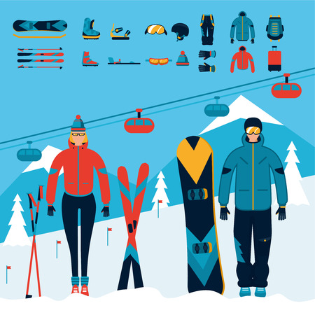 Snowboarder and skier equipment set Stock Photo