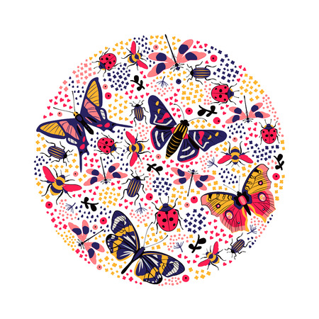 Round composition with butterfly and bug
