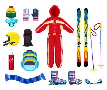Skiing winter sports equipment set