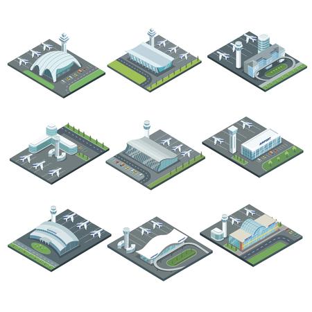 Aeropuerto terminal arquitectura isométrica conjunto. Terminal de pasajeros vidrioso, torre de control de vuelo, aviones en la pista ilustración vectorial. Viajes mundiales, negocios de transporte aéreo, aerolínea comercial