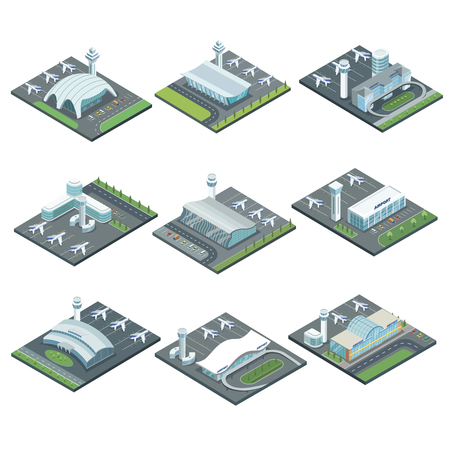 Airport terminal architecture isometric set. Glassy passenger terminal, flight control tower, planes on runway vector illustration. Worldwide traveling, air transportation business, commercial airline