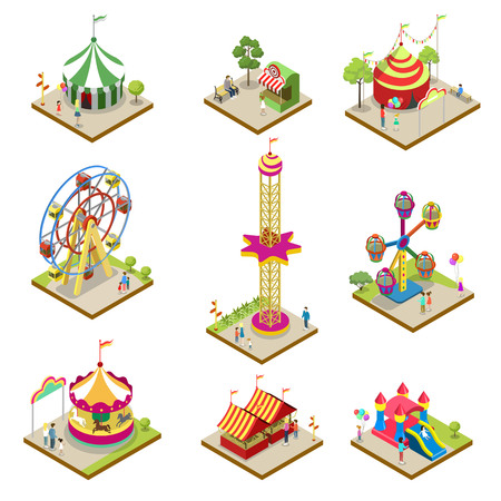 Amusement park isometric 3D elements. Funfair carnival, carousel, ferris wheel, rollercoaster, circus tent, shooting gallery. Architecture entertainment elements for family rest vector illustration.