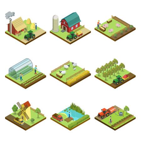 Elementi 3D isometrici di agricoltura naturale. Lavoro di macchine agricole in campo, raccolta delle colture, serra di verdure, allevamento di suini e ovini, produzione di fieno, frutteto, illustrazione vettoriale isolato mulino a vento