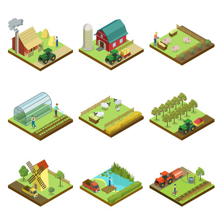 Natural farming isometric 3D elements. Agricultural machinery work in field, crop harvesting, vegetables greenhouse, pigs and sheep breeding, hay making, orchard, windmill isolated vector illustration