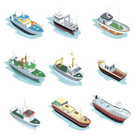 Commercial sea ships isometric elements. Container ship, fishing trawler, barge boat, port towboat, lng tanker, tugboat, crane vessel vector illustration. Worldwide commercial marine transportation. Illustration