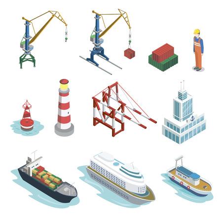 Zee verzending logistiek isometrische 3D-elementen. Commerciële wereld maritieme levering, vrachtvervoer. Containerschip, vuurtoren, vrachtkraan, haven, magazijn, navigatieboei vectorillustratie. Stockfoto - 96843981
