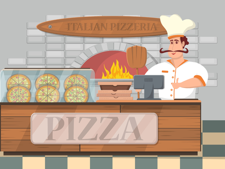 Italian pizzeria interior banner in cartoon style. Happy whiskered man in uniform with thumb up standing at store counter with pizzas. Traditional fresh fast food, italian cuisine vector illustration.