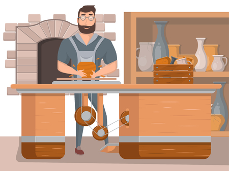Pottery workshop poster in cartoon style. Happy young potter making ceramic pot on the pottery wheel in workshop. Handmade ceramics studio concept, advertising of pottery classes vector illustration.