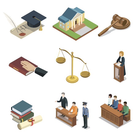 Public justice isometric 3D elements. Scales of justice, jury trial, oath of bible, pronouncement of sentence, courthouse, defendant with lawyer. Law and judgment legal justice vector illustration. Illustration