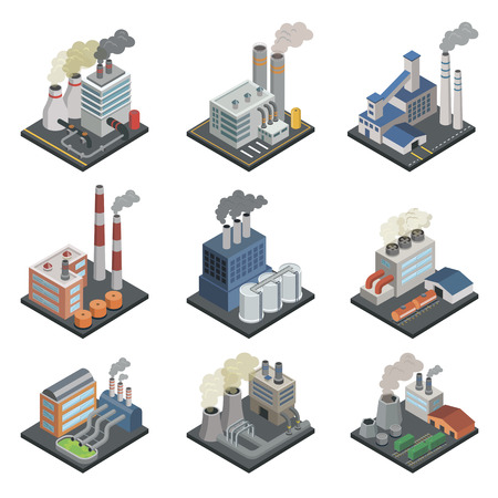 Industrial building factory, chemical plant and power stations with pipes isometric 3D elements. Heavy industry architecture, engineering and manufacturing, environmental pollution vector illustration Stock Illustratie