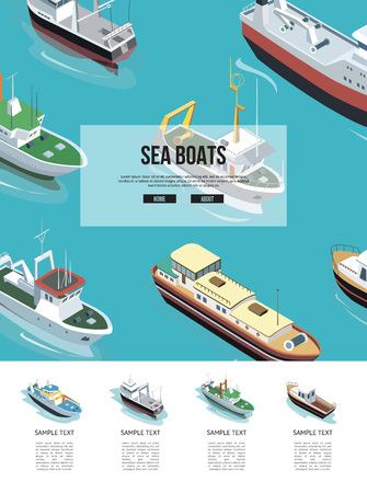 Sea boats in the water illustration Vettoriali