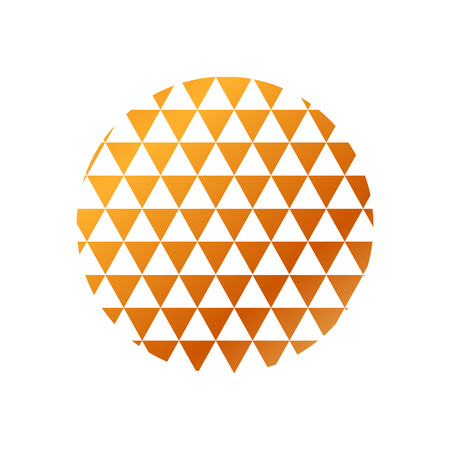 Circle with brown and orange colored triangles geometric pattern on white background.