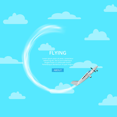 Blue Internet page with flying plane and trace on sky and article information.  Illustration