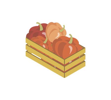 Wooden box with vegetables illustration Çizim