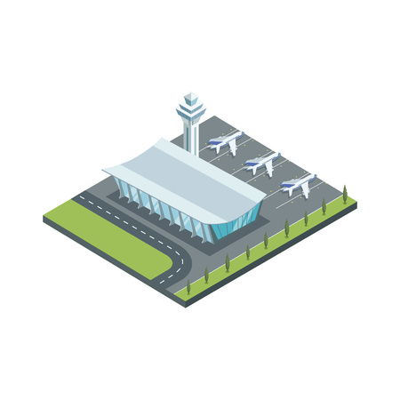 Contemporary airport and jets illustration