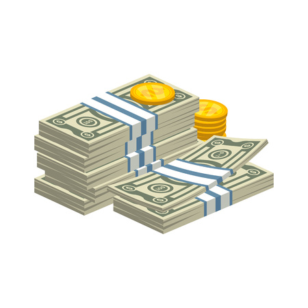 Stacked money bills illustration Vectores
