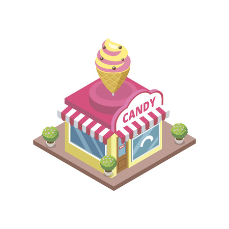 Confectionery store with ice cream emblem illustration