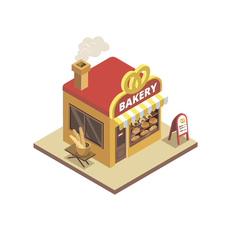 Town bakery shop illustration