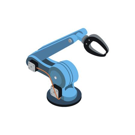 Blue robotic arm on white illustration