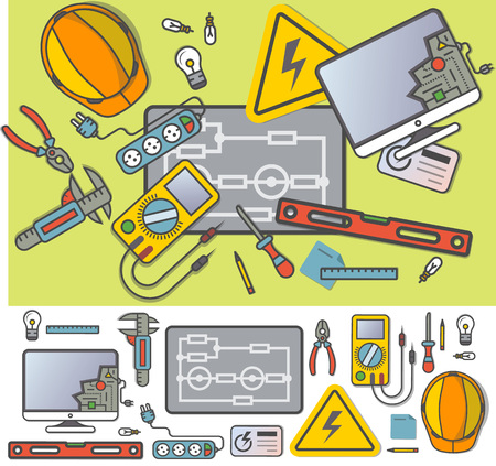 Electricity engineering icon set in flat design Stockfoto