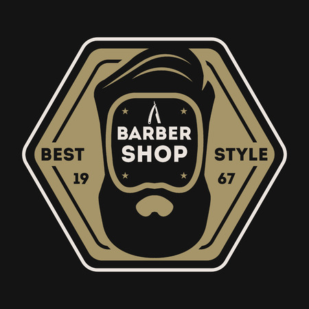 Barber shop vintage isolated label with man with beard