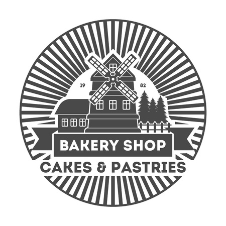 Bakery shop vintage isolated label vector