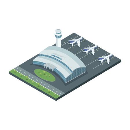 Aerodrome with planes on vector Ilustração