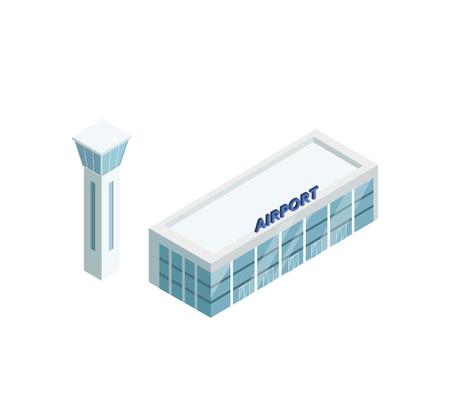 Edificio del aeropuerto con torre Foto de archivo - 97629451