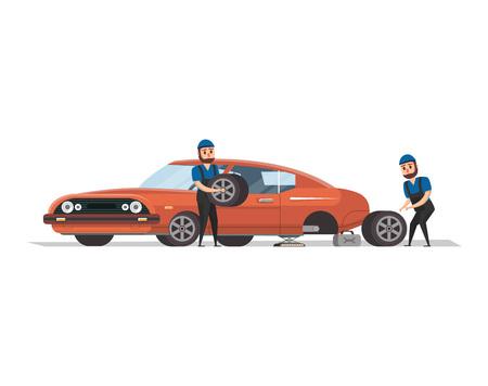 Two mechanics replacing wheel vector illustration. Illustration