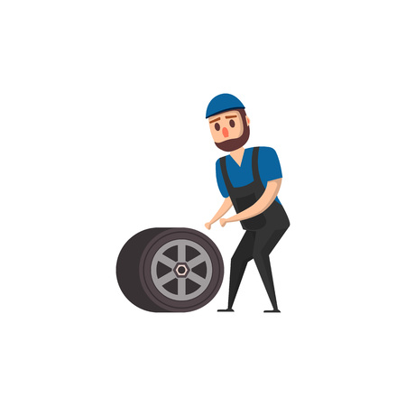 Mechanic standing at wheel vector illustration.