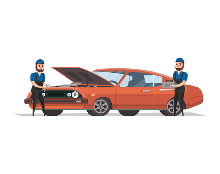 Two mechanics working with red car vector illustration.