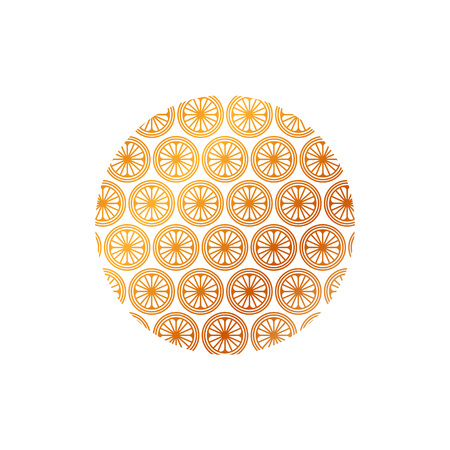 Circle with floral seamless pattern vector illustration.