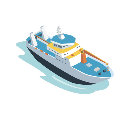 Isometric view of sailing boat vector illustration.