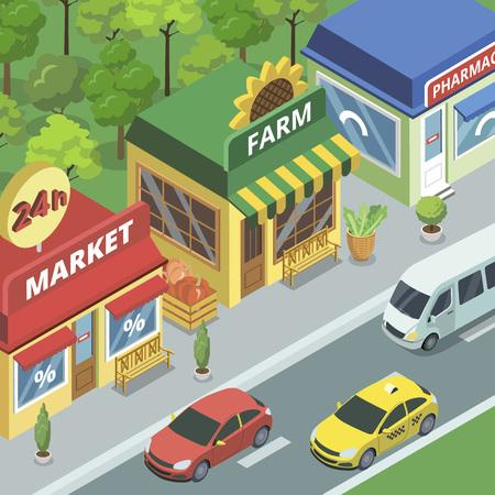 小さな店のベクターイラストが描いた街通り。 写真素材 - 97622953
