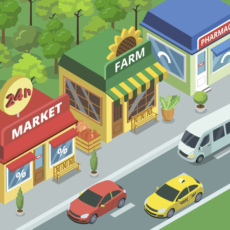 Town street with small shops vector illustration.