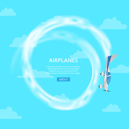 Airplane performing trick in sky vector illustration. Illustration