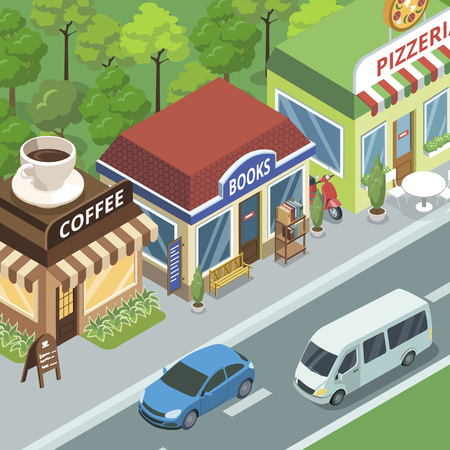 Town street with stores vector illustration design.