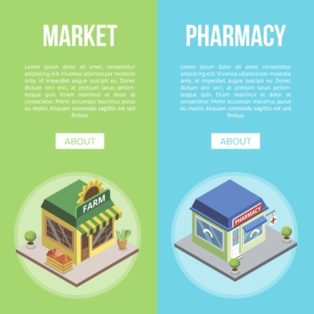 Market and pharmacy town buildings vector illustration.