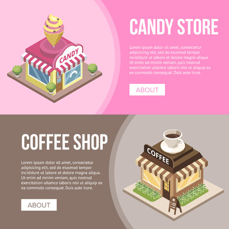 Candy store and coffee shop buildings vector illustration.