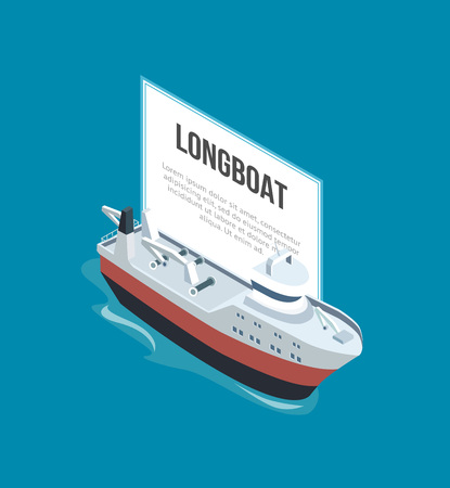 Longboat sailing with banner