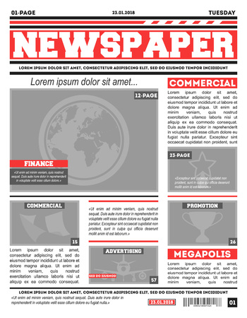 Newspaper Page Template Vector Illustration Royalty Free Cliparts