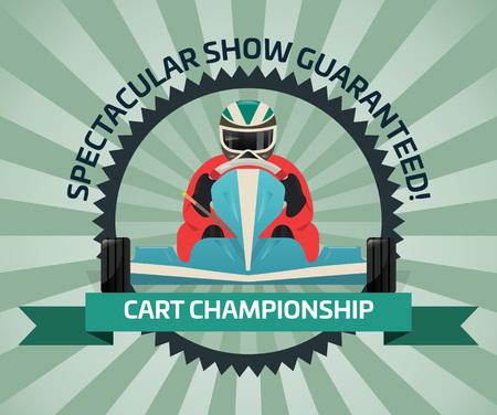Cart championship banner in flat design Stock Photo