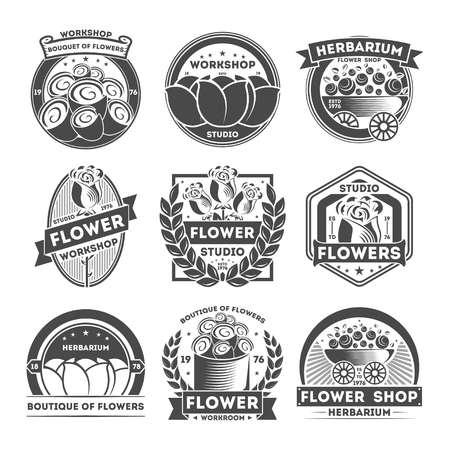 Flower studio vintage label set isolated vector illustration. Herbarium badge, floral workshop logo, boutique of flowers emblem. Florist business advertising element collection in monochrome style.
