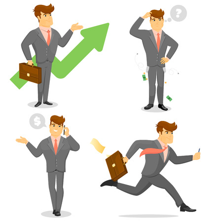Smiling businessman character with various activities vector set Illustration