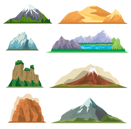 Different mountain isolated vector set