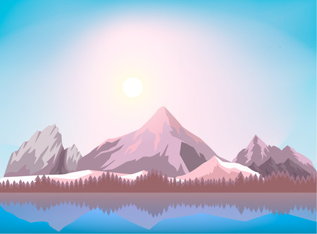 Nature mountain landscape background vector illustration. Ice mountain range near forest and lake. Tourism organization, extreme travel and hiking, mountaineering and outdoor adventure backdrop